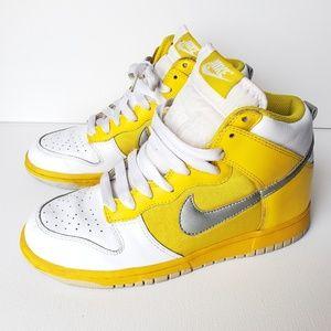 Nike Dunk High Vibrant Yellow/White/Silver #8.5